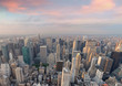 New York City, USA. Amazing aerial Manhattan view at sunset