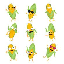 Funny Corn - Vector Isolated Cartoon Emoticons