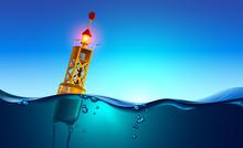 Sea Orange Buoy Floating In Oc...