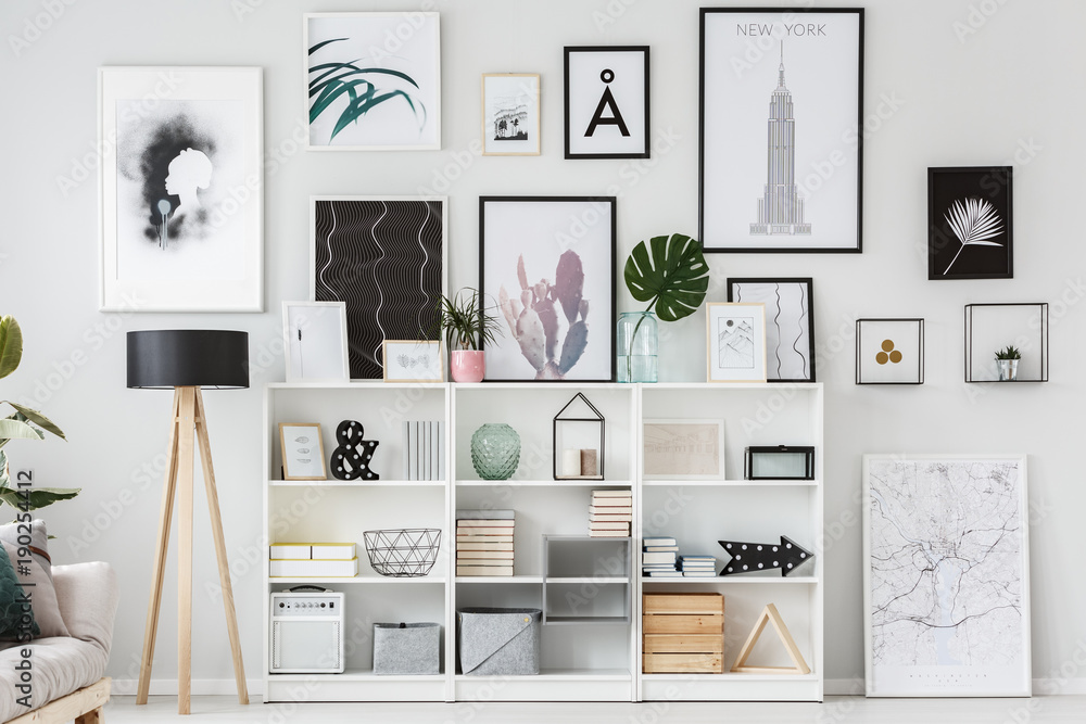Fototapety, obrazy: Posters in white flat interior