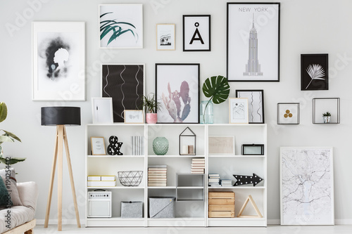 Photo  Posters in white flat interior