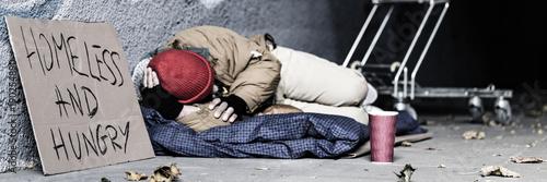 Fotografie, Obraz Dirty vagrant begging for food