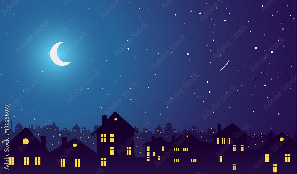 Fototapeta Vintage town at night. Bright moon and shooting star.
