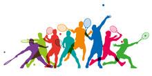 Tennis - Tennisman - Silhouett...