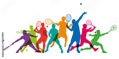 Fotomural Tennis - tennisman - silhouette - sportif - match - compétition - tournois - bal