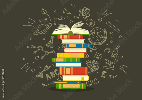 Fotografía  Stack of colorful books with education sketches