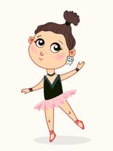 Cute Baby Girl Ballerina Dancing. Childish Style