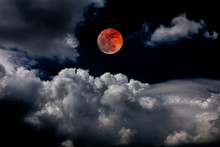 Blood Moon Red Eclipse Black Sky Lunar Full Space Background