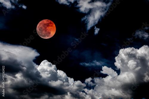 Zdjęcie XXL krew księżyc czerwony zaćmienie czarne niebo księżycowy pełny przestrzeń tło