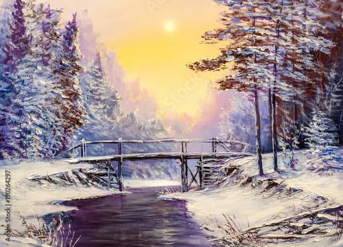 most-nad-rzeka-zimowy-krajobraz