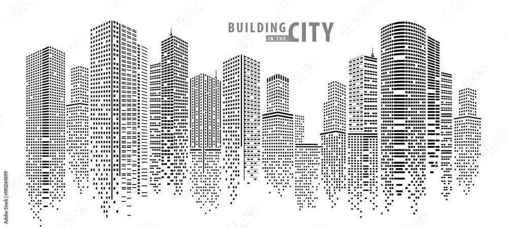 Fototapeta Abstract City vector, transparent city landscape, Dots Building in the night City