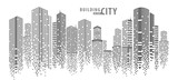 Fototapeta Miasto - Abstract City vector, transparent city landscape, Dots Building in the night City