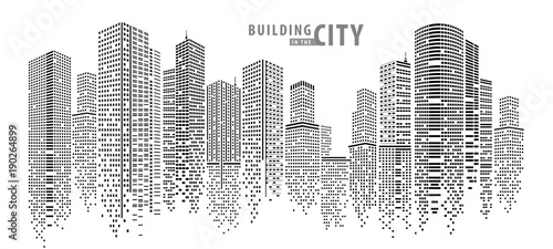 Abstract City vector, transparent city landscape, Dots Building in the night City - 190264899
