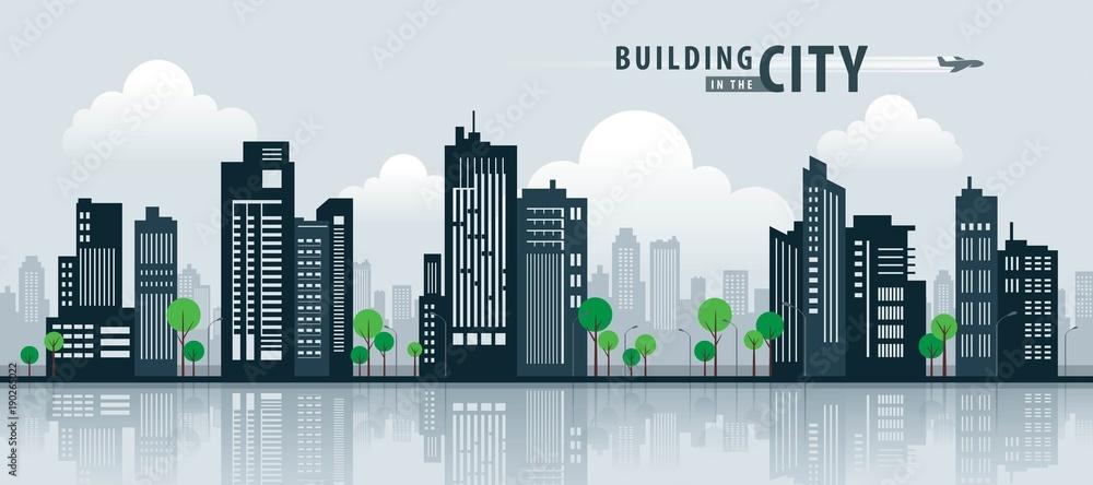Fototapeta White Building in the City, skyscraper Perspective. Architecture vector.