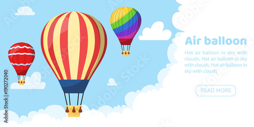 Tablou Canvas Flat hot air balloon