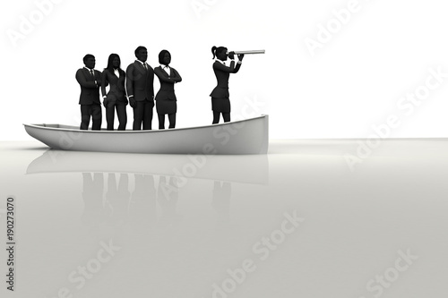 Leader on boat leading a team with a telescope Canvas Print