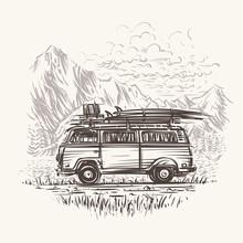 Old Retro Travel Bus Illustrat...