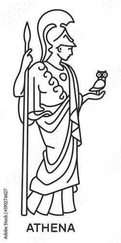 Athena Icon Svg Compatible Line Draw Style Vector Ancient