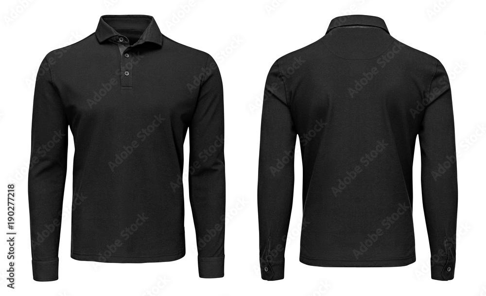 Fototapeta Blank template mens black polo shirt long sleeve, front and back view, isolated white background with clipping path. Design sweatshirt mockup for print.
