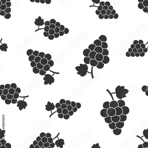 Grape fruit with leaf seamless pattern background. Business concept vector illustration. Bunch of wine grapevine symbol pattern. Fototapete