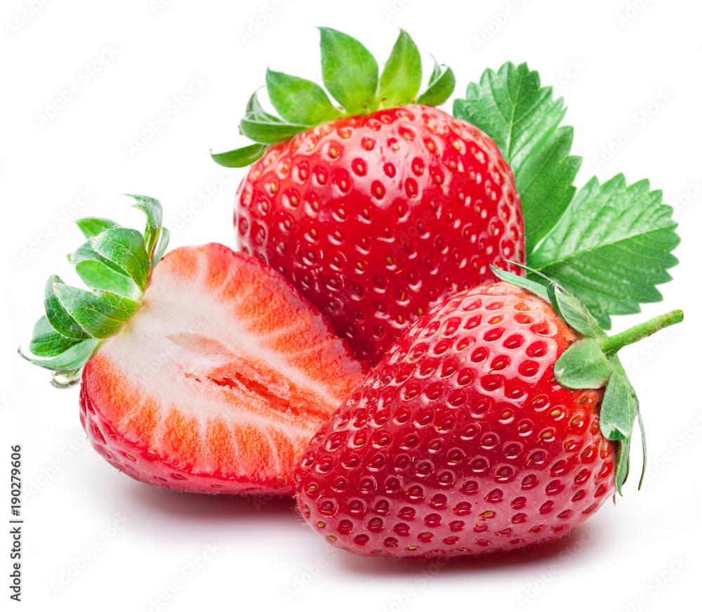 Fototapety, obrazy: Three strawberries with strawberry leaf on white background.