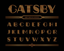 Vector Of Gatsby Font And Alphabet, Gold Letter Set.