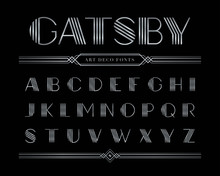 Vector Of Gatsby Font And Alphabet, Silver Letter Set.