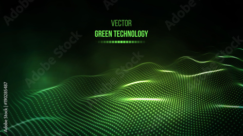 Green technology background. Green energy vector illustration eps10. Team communication concept green background. Vector presentation tech background.