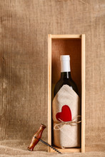 Wine Bottle With Red Heart
