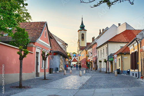 Photo  Kucsera Ferenc street with medieval small houses, Szentendre, Hungary