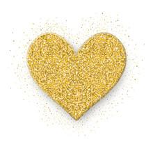Heart Icon. Shine Gold Glitter...