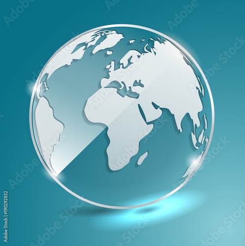 Glass ball with world map earth geographic map globe vector glass ball with world map earth geographic map globe vector banner gumiabroncs Choice Image