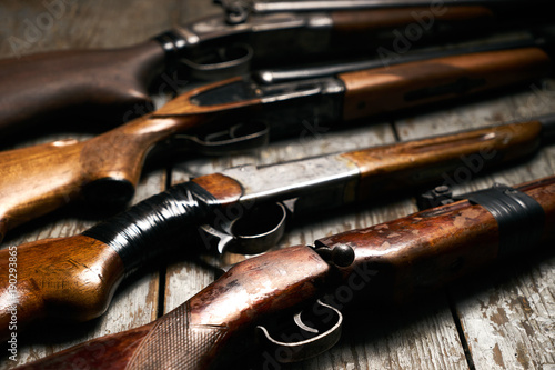 Fotografie, Obraz ollection of hunting rifles