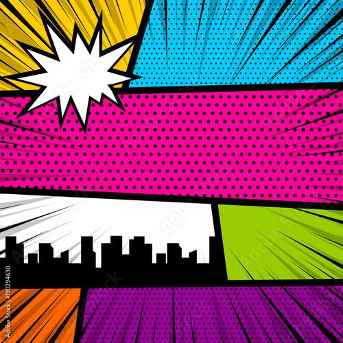 kreskowka-zabawny-vintage-pasek-komiks-miasta-widok-pusta-grafika