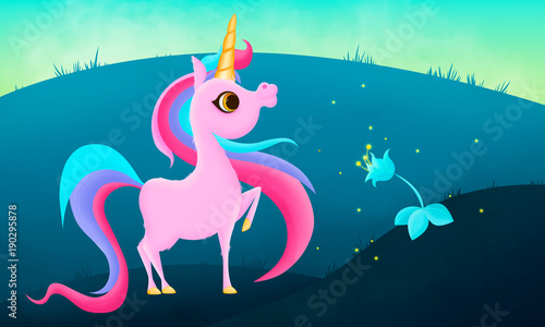 Recess Fitting Submarine Cute pink unicorn smiling and magic flower