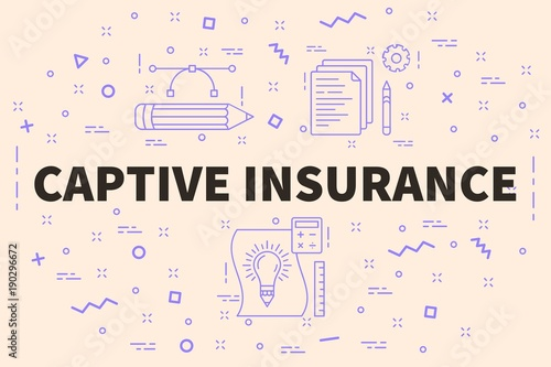 Conceptual business illustration with the words captive insurance Wallpaper Mural