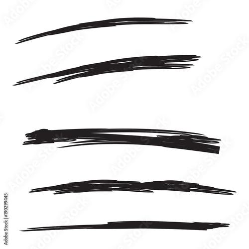 Photo Vector set of hand drawn underline