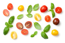 Tomatoes And Basil Leaves Isolated On White Background
