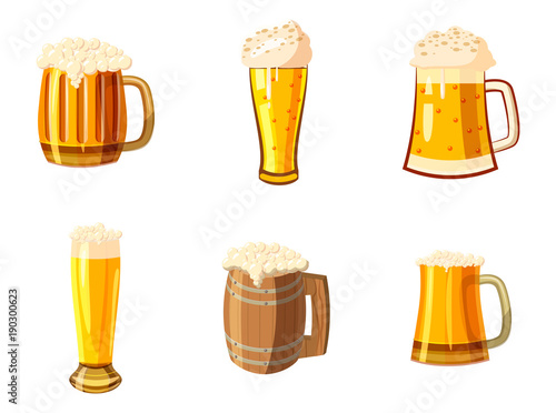 Fotografie, Obraz Glass of beer icon set, cartoon style