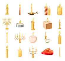 Candle Icon Set, Cartoon Style