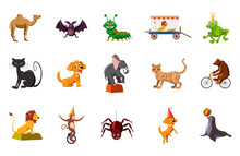 Animals Icon Set, Cartoon Style