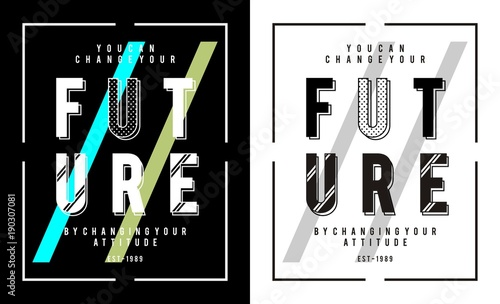 In de dag Positive Typography design vector typography future