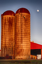 Vertial Photo Of Two Silos Col...