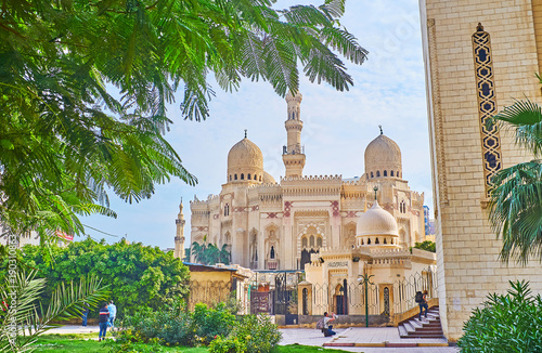 Tuinposter Egypte The garden of mosque complex, Alexandria, Egypt