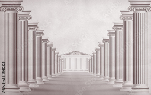 Photo Columns in the Greek style. 3 d rendering.