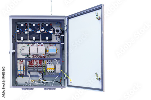 Fotografía electrical control Cabinet with an open door isolated on a white background