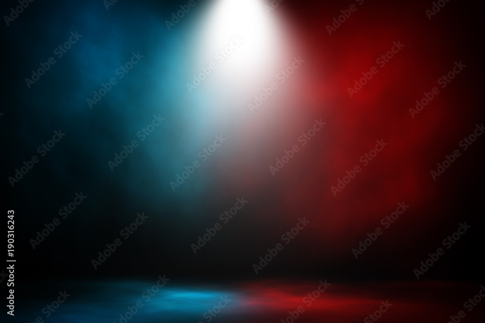Fototapety, obrazy: Spotlight fight and match red and blue smoke background.