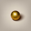 Vector realistic golden ball with shadow on gray background.