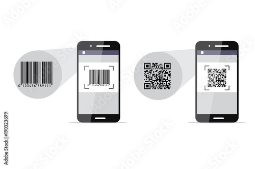 Valokuva  Barcode and QR-code scanning phones. Vector illustration.
