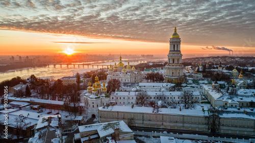 Photo Stands Kiev Orange sunset and cloud over cityscape Kiev, Ukraine, Europe